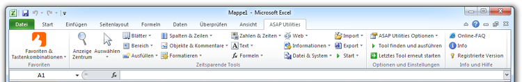 Excel 2010 mit ASAP Utilities